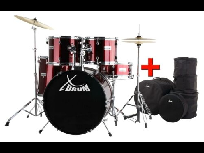 Set de Batterie Acoustique Drum Kit 20'' Percussion Tambour Support Housse Rouge