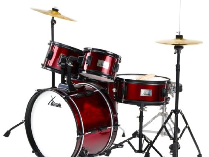 set tambour percussion batterie de debutants drum set enfants musique rouge batterie occasion. Black Bedroom Furniture Sets. Home Design Ideas