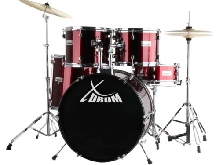 BATTERIE ACOUSTIQUE DRUM SET DRUM KIT COMPLET CYMBALES TABOURET BAGUETTES ROUGE