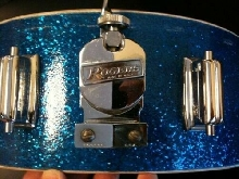 Vintage  Rogers Powertone Snare in Blue Sparkle (Cleveland Tag, ca. 1965)